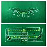 YH Poker Blackjack and Craps 2-Sided Casino Table Felt Layout