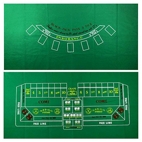 YH Poker Blackjack and Craps 2-Sided Casino Table Felt Layout
