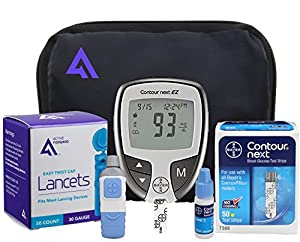 Active1st Bayer Contour NEXT Diabetes EZ Meter Testing Kit, Test Strips, Lancets, Lancing Device, Control Solution, Reference Guide, Log Book Carry Case