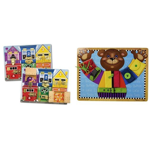 Melissa & Doug Latches Board & Basic Skills Board Bundle