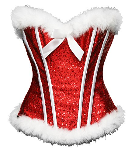 Bslingerie Sexy Christmas Santa Girl Costume Corset Top (XXL, Red Sequin)
