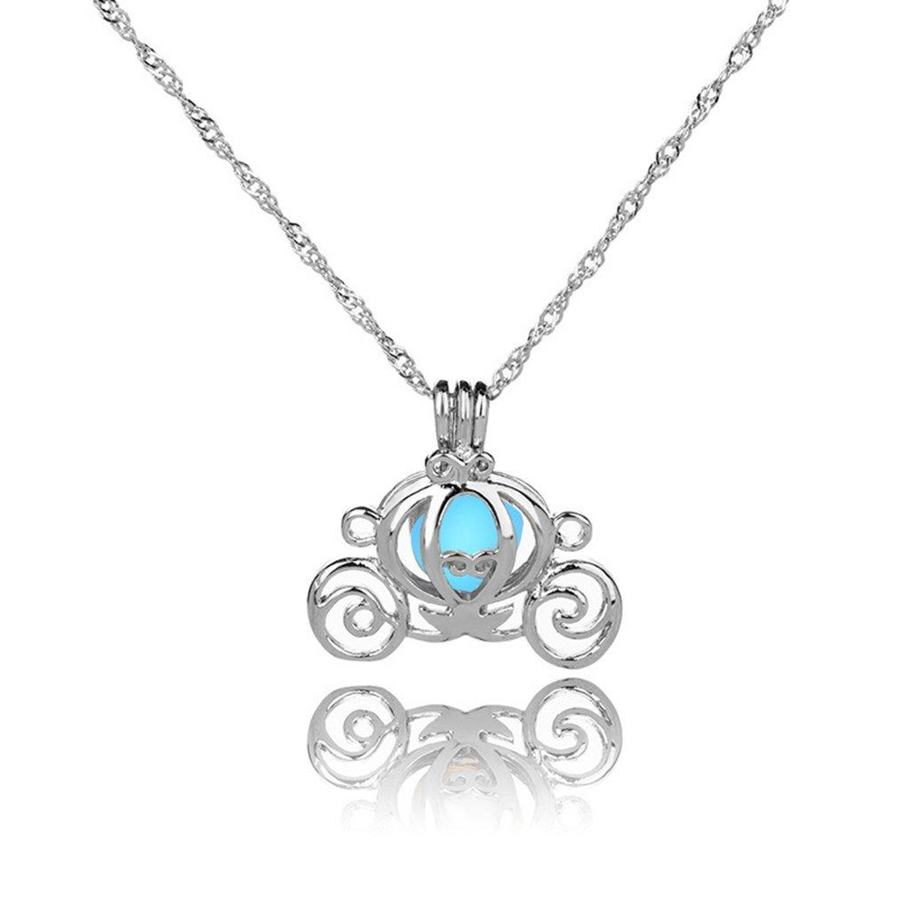 Meolin Halloween Luminous earrings Pendant Necklace Glow in the Dark,White K + Sky Blue,L:45cm/2.32.5cm