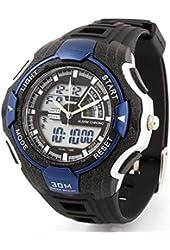 OUANGANC Water-proof Digital-analog Boys Girls Sport Digital Watch with Alarm Stopwatch Chronograph Blue