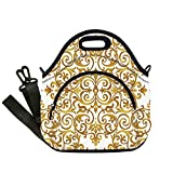 42 Inch Square Ottoman Insulated Lunch Bag,Neoprene Lunch Tote Bags,Kitchen Decor,Victorian Golden Lace Antique Baroque Pattern Oriental Ottoman Royal Square Pattern,White Gold,for Adults and children