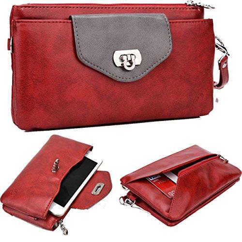 Price comparison product image NuVur153; Women's Colorblock Universal Smartphone Wrislet Wallet Clutch Fits HTC Desire 626, 626s, M9+, One ME|Red