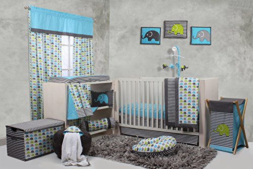 Bacati-Elephants-Crib-Set-without-Bumper-Pad-AquaLimeGrey