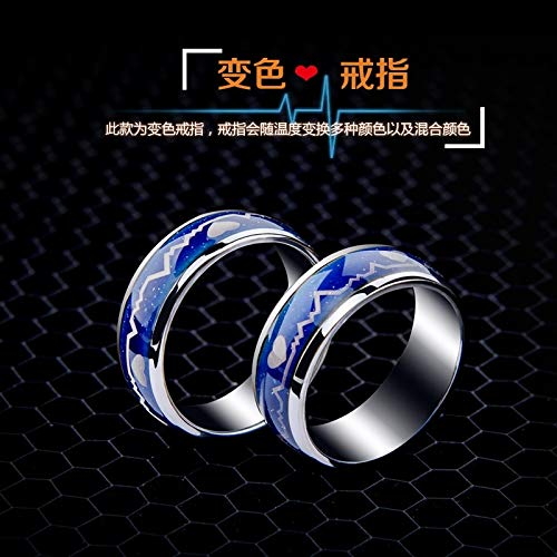 - Color Steel Men's Rings Temperature Sensing Temperature Mood Colorful Men Man Women Girls Students Creative Arts Tide Tail Ring Lettering Child (us No. No. (Perimeter 61.5mm) 9 to Send Chain lac