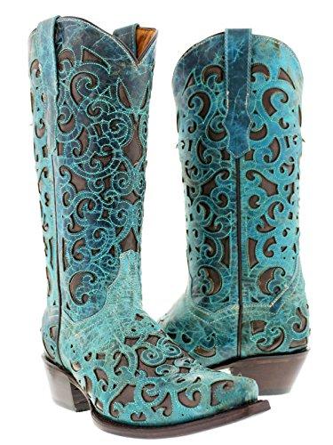 Cowboy Professionele Womens Turquoise Oviedo Western Lederen Cowboylaarzen Knipsel Turquoise