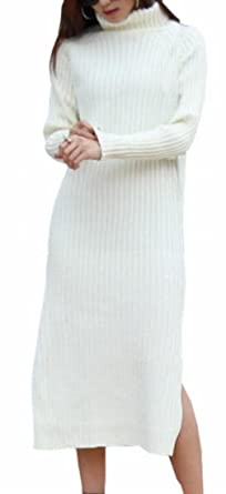 30b3f42663 xtsrkbg Women Autumn Ribbed Turtleneck Long Sleeve Maxi Knit Sweater Dress  1 S