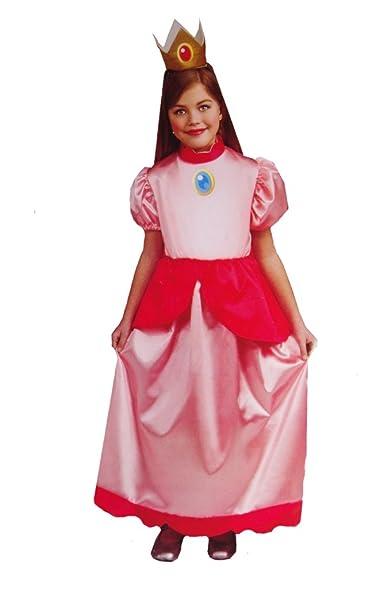 Amazon.com: Girls Super Mario Bros. Princess Peach Costume Plus ...