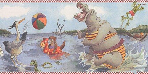 Cartoon Swamp Fish Hippo Frog Bird Kids Wallpaper Border Retro Design, Roll 15' x 6
