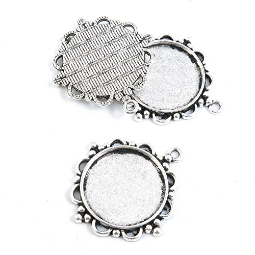 Qty 5 Pieces Silver Tone Jewelry Making Charms Filigrees X6RB6 Round Cabochon Frame Setting 25mm