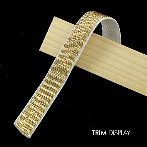 10yards Gold Elastic Stretch Single Face Ribbon 14mm Tape Trim Applique Sewing Supplies Material Webbing for Strap Belt T997