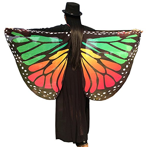 Soft Fabric Butterfly Wings Shawl Fairy Ladies Nymph Pixie Costume Accessory ((Red Green) 14665 cm (57