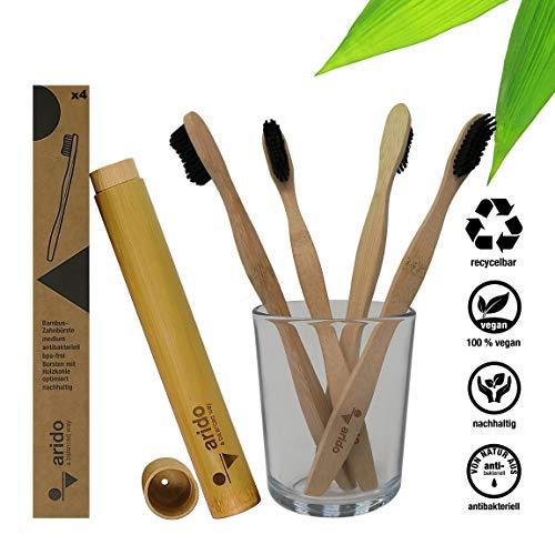arido Bambus Aktivkohle Zahnbürste 4 Stück + Zahnbürstenhülle 100% biologisch abbaubar Holzzahnbürste Zero Waste…