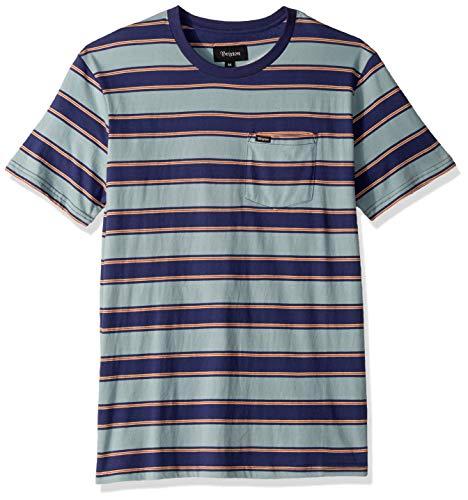 Brixton Stone (Brixton Men's HILT Tailored FIT Short Sleeve Pocket Knit Shirt, Blue Stone, S)