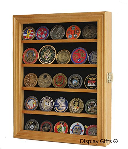 LOCKABLE 30 Military Challenge Coin, Sport Competition Coin, Casino Chip Display Case Wall Mounted Cabinet, with Lock (Oak (Oak Challenge Coin)