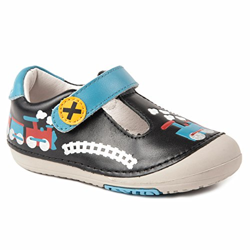Momo Baby Boys First Walker/Toddler Train Black T-Strap Leather Shoes - 4.5 M US Toddler