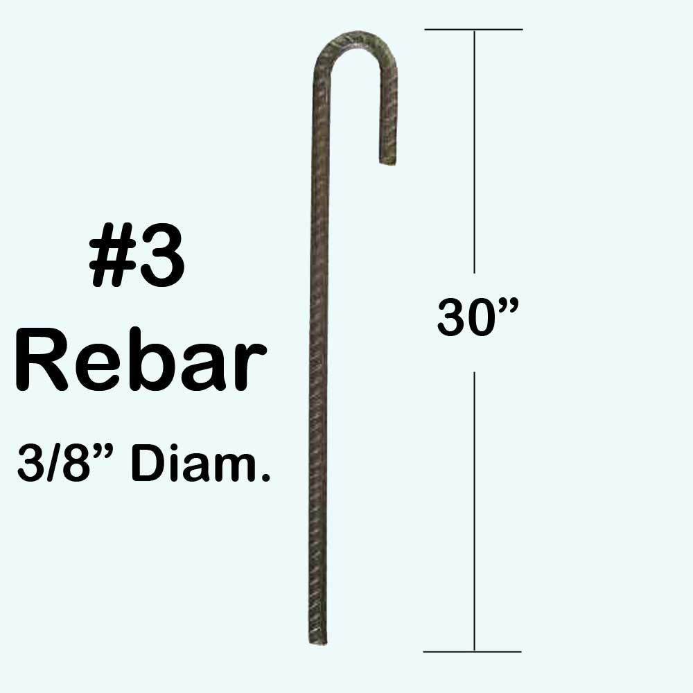 3//8 diam. Rebar Ground Stakes with J Hook Heavy Duty 30 #3 Rebar Pack of 10