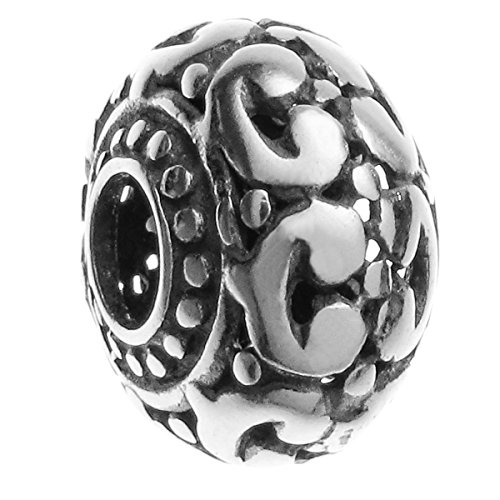 Sterling Silver Round Filigree Flower European Bead Charm For Pandora Chamilia Troll ()