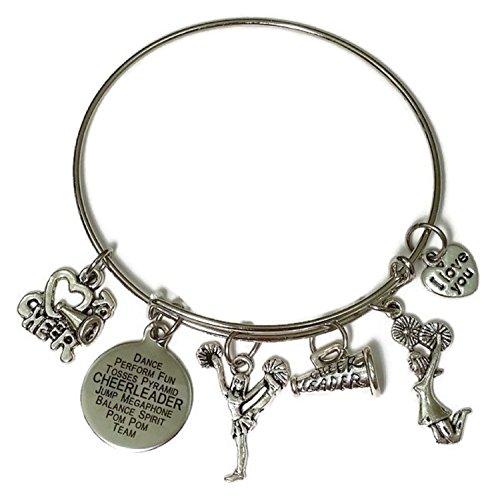 Cheerleader bracelet, Cheer bracelet, Cheer jewelry, Cheerleading bracelet, Cheer Coach bracelet, Gift for cheerleader, sports bracelet, Cheerleader bangle bracelet (Diameter : 5.8cm / 2.28 inches)