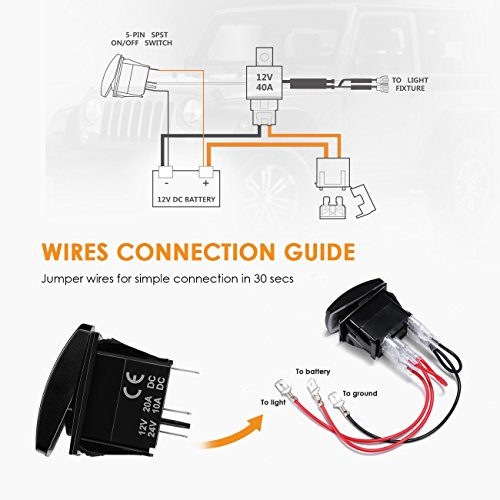 Auxbeam LED Light Bar Rocker Switch with Switching Lines for 12 / 24V Cars, Motorcycles, Buses, Boats, RVs, Trailers by Auxbeam (Image #6)
