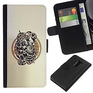 NEECELL GIFT forCITY // Billetera de cuero Caso Cubierta de protección Carcasa / Leather Wallet Case for LG G2 D800 // Serpiente Cráneo