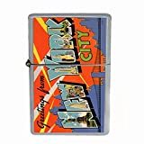 Perfection In Style Wind Proof Dual Torch Refillable Lighter Vintage New York Design 008