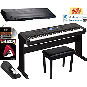 Yamaha DGX-660 Digital Piano - Black Bundle with Furniture Bench, Sustain Pedal, Dust Cover, Instructional Book, Online Lessons, Austin Bazaar Instructional ...