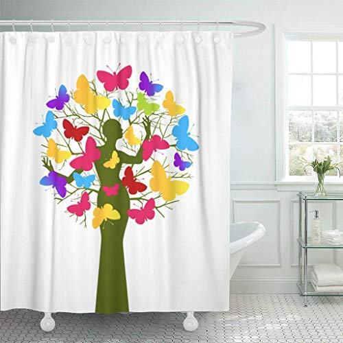 Afagahahs Fabric Shower Curtain Curtains with Hooks Blue Transform Butterfly Tree Woman and Separate Use with Without Colorful Change Evolve Life Organic Fuchsia Waterproof Decor Bathroom ()