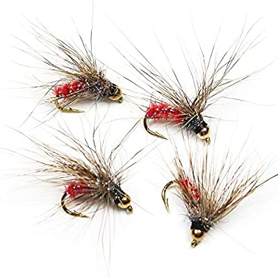 Fishing Lures - 8PCS Copper Bead Head with Shiny Body Dry Fly Flies Rainbow Trout Bass Perch Fly Fishing Lures - #12 : Garden & Outdoor