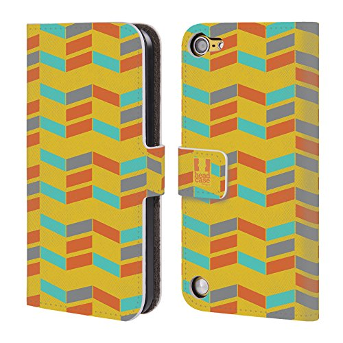 Head Case Designs Estate Chevron Pattern Cover a portafoglio in pelle per iPod Touch 5th Gen / 6th Gen