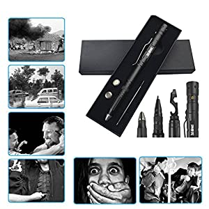 Tactical Pen Self Defense Tool for Survival Military Police Grade Badass EDC - Tactical Flashlight + Glass Breaker + Ballpoint Pen + Multi Tool - 2 Ink Cartridges + 3 Batteries - Gift Boxed