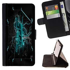 BullDog Case - FOR/Samsung Galaxy S5 Mini, SM-G800 / - / motherboard blue power /- Monedero de cuero de la PU Llevar cubierta de la caja con el ID Credit Card Slots Flip funda de cuer