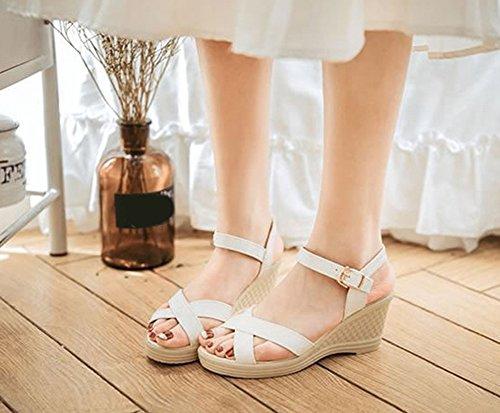 Scothen Femmes Sandales d'été Tongs Style Bohème Chaussures Plates Strass Romaine Ronde Tête Cheville Sangle Tressée T-Strap Sandales Appartements Tongs Plage Pantoufles White XFWIosc