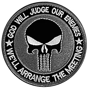 Antrix Round Punisher Patches, 3 Pack Military Punisher God Will Judge Our Enemies We'll Arrange The Meetings Tactical Morale Patches