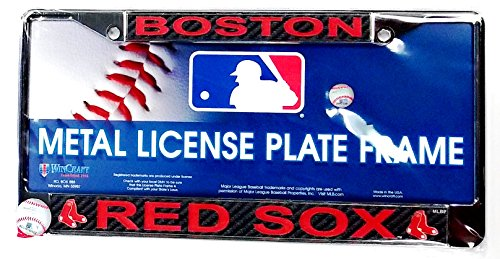 - Stockdale Boston Red Sox Carbon Fiber Design LASER FRAME Chrome Metal License Plate Tag Cover Baseball