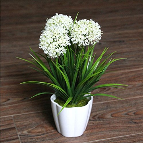 Hydrangea Potted Plant - XICHEN Artificial Potted Plant, Hydrangea, 10Inch (White)