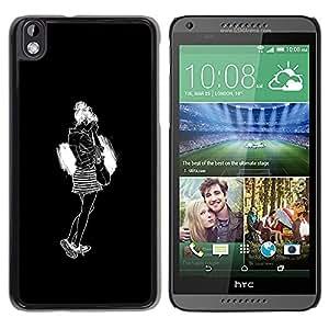 """For HTC DESIRE 816 Case , Chica Negro Blanco Moda Diseño minimalista"""" - Diseño Patrón Teléfono Caso Cubierta Case Bumper Duro Protección Case Cover Funda"""