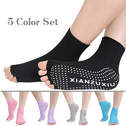 5 Pair Toeless Pilates Socks For Women, Barre Yoga Socks With Grip For Women, Yoga Toes Socks With Non Slip, Barre Socks With Arch Support, Cotton Pilates Socks For Barre Class, Studio Wrap Shoes (Best Shoes For Barre Class)