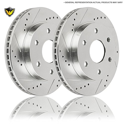 Drilled Slotted Front Brake Rotors For Ford Expedition Lincoln Navigator 2003 2004 2005 2006 - Duralo 152-1075 New (Slotted Rotor Lincoln Navigator)