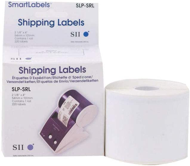 White Shipping Labels for Smart Label Printer - SLP-SRL | Direct Thermal Printing | Text, Barcodes, Logos and Image | High Speed & High Performance Portable Print | 1roll per Box, 220 Labels per roll