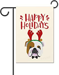 yyone House Decor Flag Garden Flag Banner Happy Holidays Cute English Bulldog Welcome Signs Gifts for Home Outdoor Flag for Christmas 12 x 18 Inches