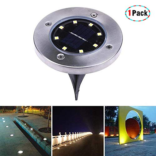 Solar in-Ground Lights 8 LEDs Outdoor, Waterproof Path Light Flood Lamp Yard Garden Walkway Driveway Lawn Landscape Home Decking White (1 lamp with 8pcs led Chips-Warm White)