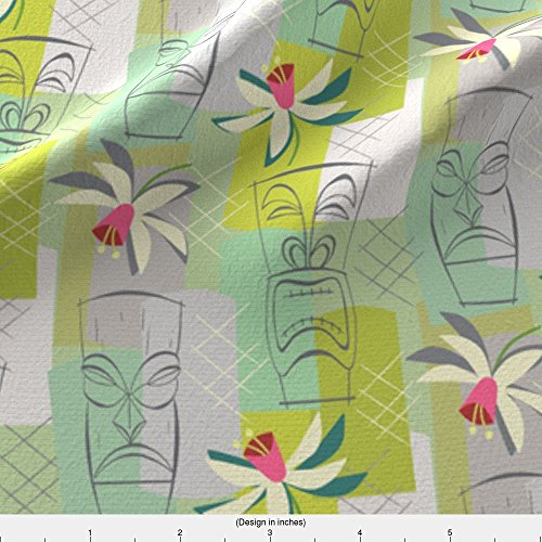 Exotica Fabric (Fabric Mint Tiki Exotica by Studiojenny Printed on Silky Faille Fabric by the Yard by Spoonflower)