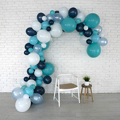 Lunar Bliss 16 ft Balloon Arch & Garland Kit | 100 Balloons, Blue, White, Tiffany Blue | Birthday Party Decorations, Baby Shower, Engagement, Bridal Shower, Wedding, Anniversary, Event (Ocean Breeze)]()
