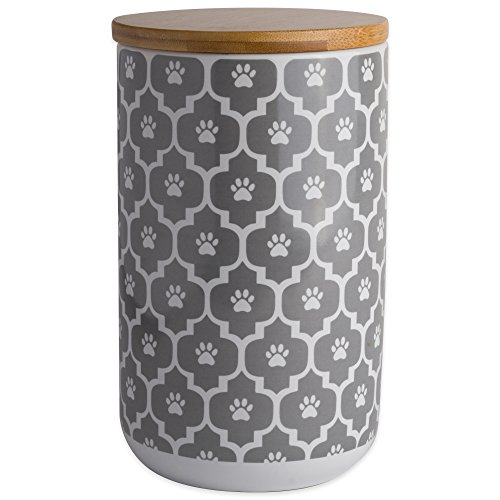 "Bone Dry DII Ceramic Pet Treat Storage Canister with Air Tight Lid 4""(Dia) x 6.5"" (H), Perfect Food and Treat Jar for Dogs and Cats-Gray Paw Lattice"