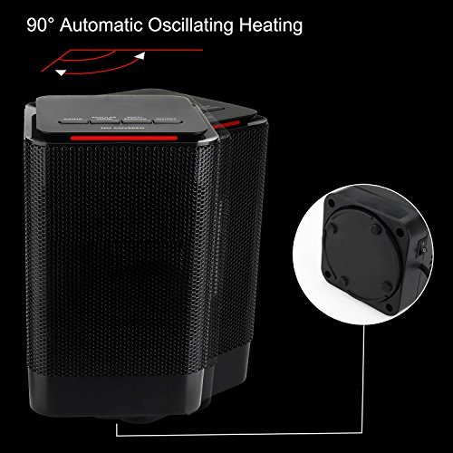 Portable Space Heater, Engive Portable Electric Ceramic Heater, Carrying Handle, Over-Heat Protection - 950 Watt Warming Mini Heater Fan by ENGIVE (Image #5)