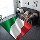 Vanfan Design Home Decorative 53474551 Italian flag in the wind Part of a series Modern Non-Slip Doormats Carpet for Living Dining Room Bedroom Hallway Office Easy Clean Footcloth