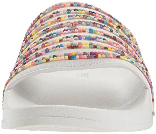 Kenneth Cole Reaction Mujeres Pool Juego Sporty Thin Stripes Slide Sandalia Blanco